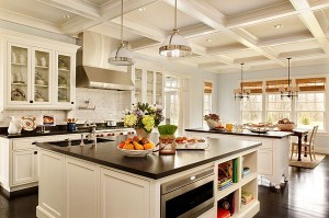 Large-kitchen-remodeling-with-white-furniture-and-dark-flooring-300x199